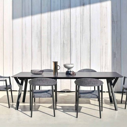 Outdoor dining table H 75 cm with a modern design, Link by Varaschin