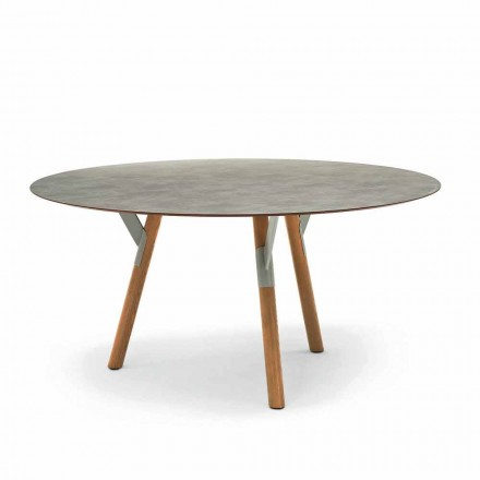 Round garden table with teak wood legs, H 65 cm, Link by Varaschin