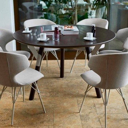 Round garden dining table H 65 cm, modern design, Link by Varaschin