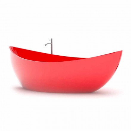 Modern design bathtub Funamori, made of Solid Surface, made in Italy