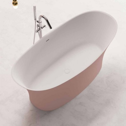Bicolored Free Standing Bathtub, Design in Solid Surface – Look