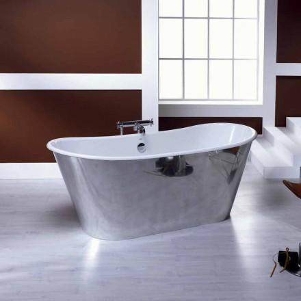 Vintage aluminum plated cast iron freestanding bathtub Ida