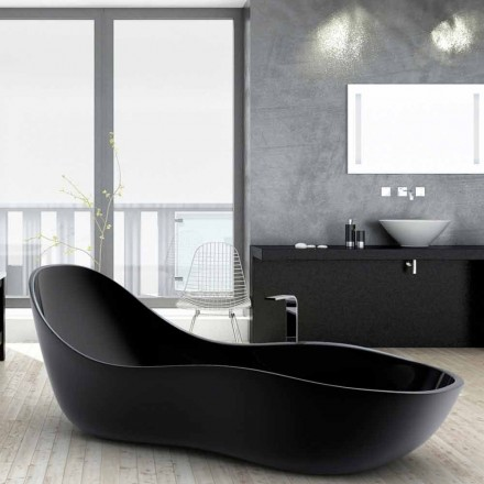 Modern design free-standing bathtub Wave, made in Italy