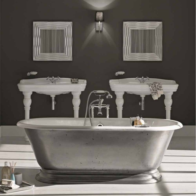 Bathtub in designer bathroom with cast iron Pierce gloss finish