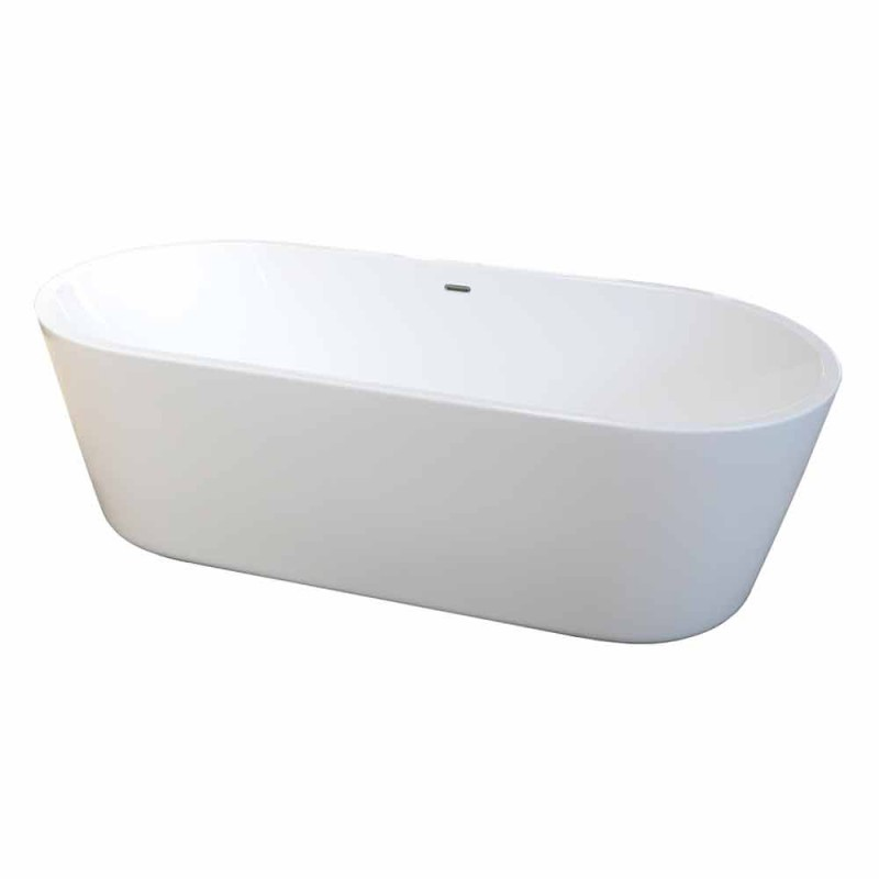 Modern freestanding bathtub in white acrylic 1675x780mm Nicole2 Small