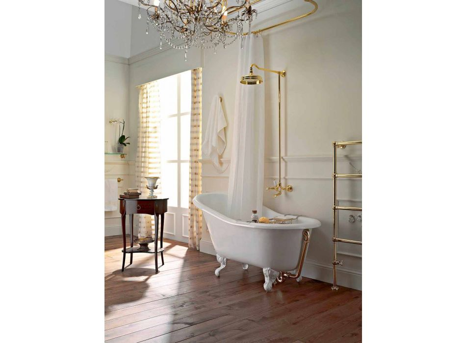 Vintage Freestanding Bathtub in White Cast Iron Made in Italy - Paulina