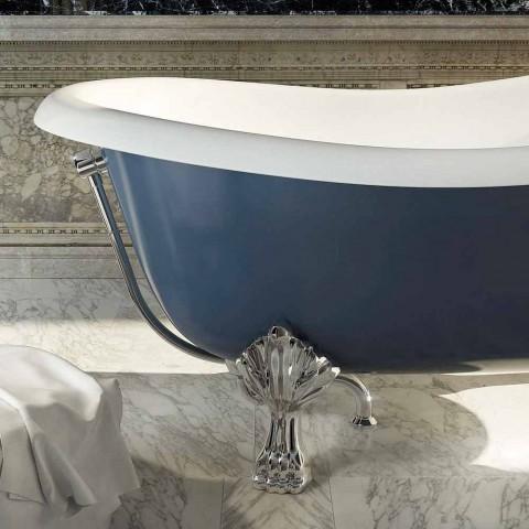 Freestanding blue resin bathtub in classic design, Fregona
