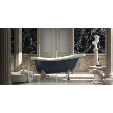 Classic design freestanding blue resin bathtub, Fregona made in Italy
