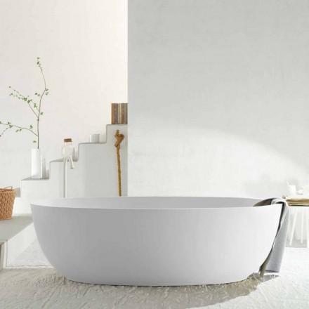 Modern oval freestanding monobloc bathtub made in Italy, Frascati
