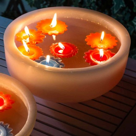 Round Wax Bathtub with Colored Floating Candles Made in Italy - Utina