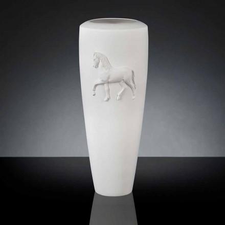 White ceramic vase Carlos, 100% made in Italy, modern design