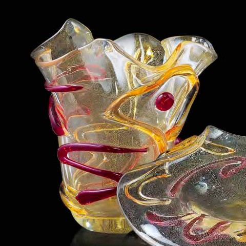 Gold, Red and Amber Murano Glass Handkerchief Vase Made in Italy - Campisi