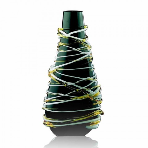 Bottle Shaped Vase in Murano Glass Colored Made in Italy - Vitale
