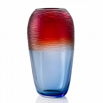 Colored Battuto Vase in Gradient Striped Murano Glass Made in Italy - Pasteur