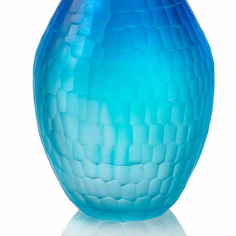 Colored Battuto Vase in Shaded Murano Glass Made in Italy - Einstein