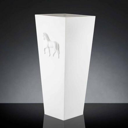 White cube vase Cody, modern design, handmade by Italian artisans