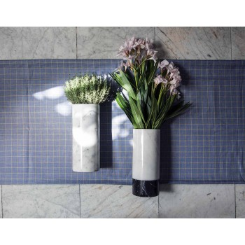 Cylindrical Decorative Vase in Carrara Marble and Marquinia Made in Italy - Emory
