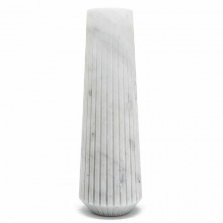 Modern White Carrara Marble Decorative Vase Made in Italy - Cairo