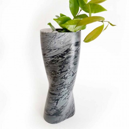 Modern Decorative Vase in Bardiglio Fiorito Marble Made in Italy - Dido
