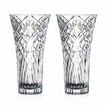 Vintage Design Vase in Transparent Ecological Crystal 2 Pieces - Cantabile