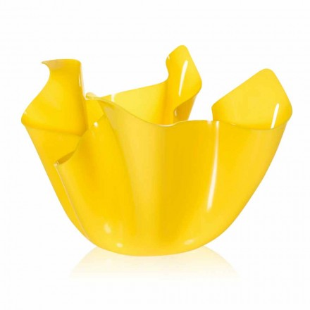 Modern design outdoor / indoor pot Pina, yellow finish, made in Italy
