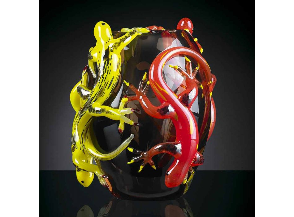Colored Glass Vase with Geckos Handcrafted in Italy - Geco