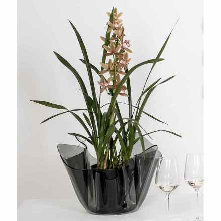 Fumé outdoor/indoor vase with a modern design Pina, made in Italy