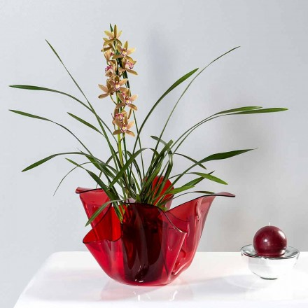 Red outdoor/indoor vase with a modern design Pina, made in Italy