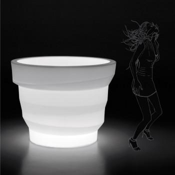 Bright Polyethylene Garden Vase with LED Made in Italy - Poldo