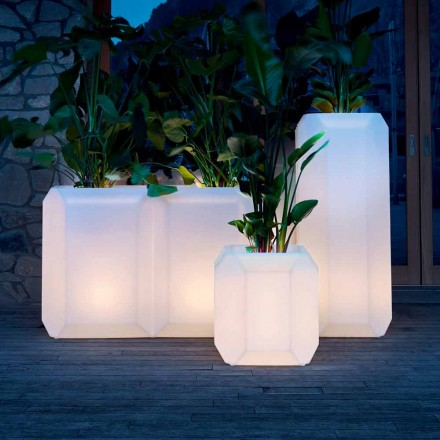 Luminous Vase in Plastic for Outdoor or Indoor, 3 Sizes, 2 pieces - Gem by Myyour