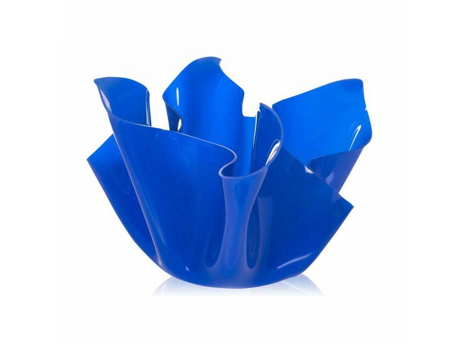 Multipurpose outdoor / interior vessel Pina blue, modern design, made in Italy