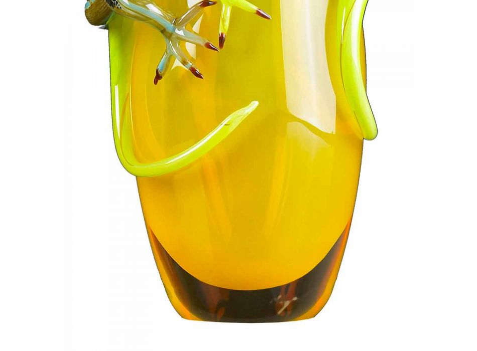 Colored Glass Ornamental Vase Handcrafted in Italy - Geco