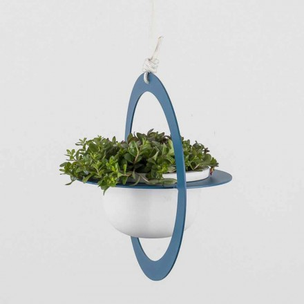 Hanging Flower Vase in Steel and Ceramic Made in Italy - Leotta