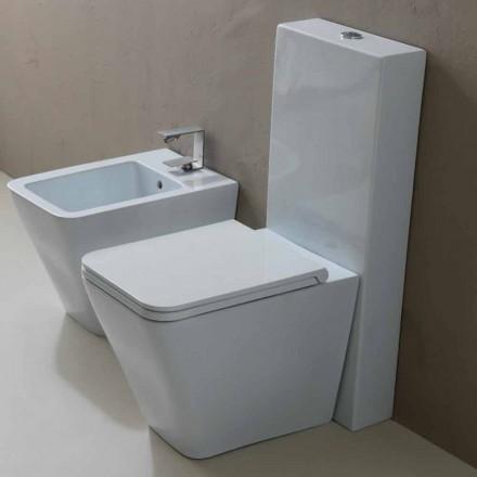 Modern design white ceramic WC Sun Square, produced in Italy