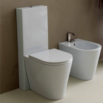Modern white ceramic Sun Round WC vase 57x37 cm made in Italy