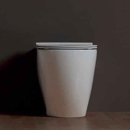 Modern white ceramic toilet vase Shine Square Rimless, made in Italy