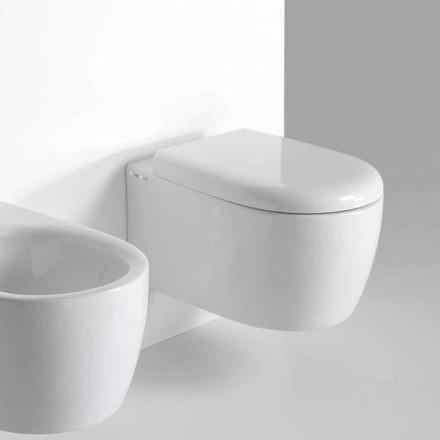 Modern Design Wall Hung WC in Colored Ceramic Made in Italy - Lauretta