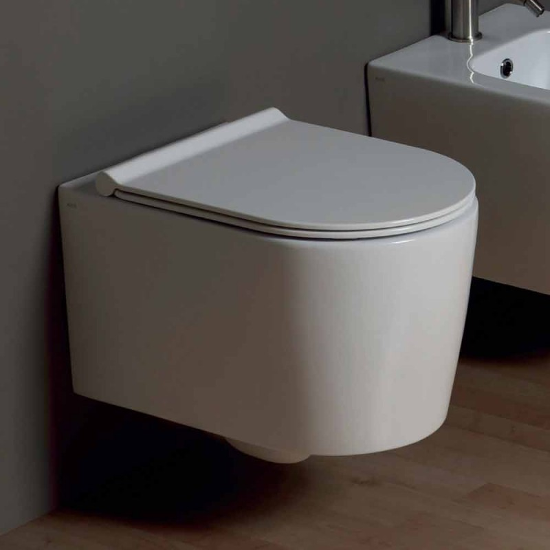 Contemporary design wall-hung ceramic toilet bowl Shine Square, made in Italy