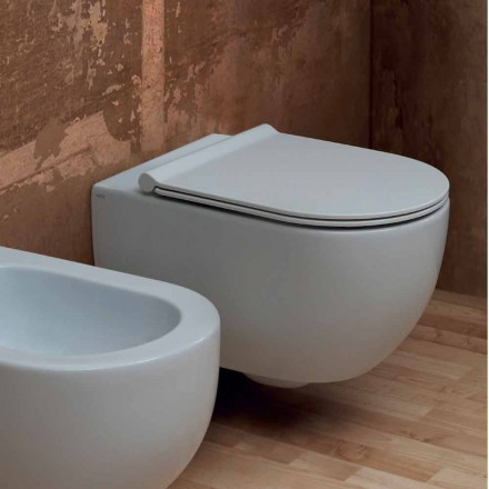 Modern design ceramic wall hung toilet Star 55x35 made in Italy