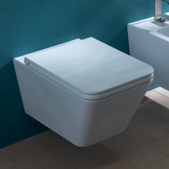 Ceramic wall-hung toilet, modern design, Sun Square made in Italy