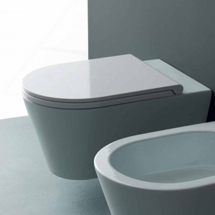 Modern ceramic wall hung toilet bowl Sun Round 57x37 cm, made in Italy