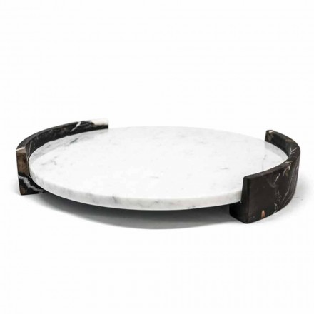 Modern Round Tray in White Carrara Marble Made in Italy - Chet