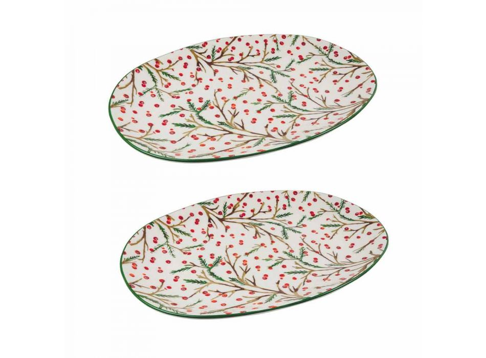 Christmas Tray Oval Porcelain Serving Plate 2 Pieces - Butcher's Broom