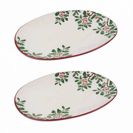 Christmas Tray or Oval Serving Plate in Porcelain 2 Pieces - Pungitopo