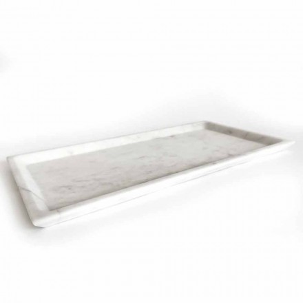 Rectangular Tray in Polished White Carrara Marble Made in Italy - Alga