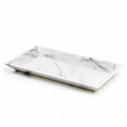 Rectangular Tray in White Carrara Marble Made in Italy - Vassili