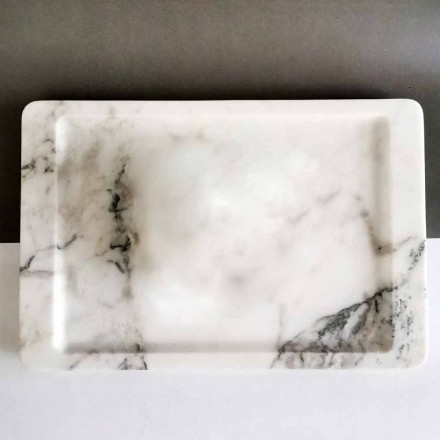 Rectangular Tray in Modern Veined White Marble Made in Italy - Stora