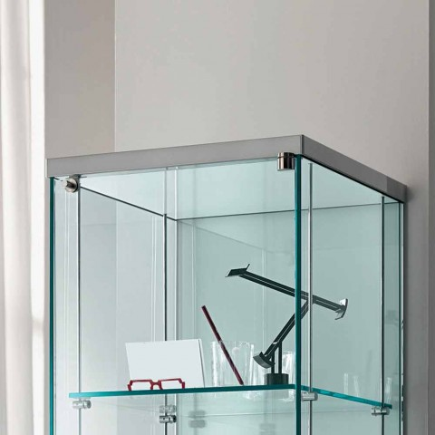 Column Showcase in Transparent Glass with Right or Left Knob - Antonia
