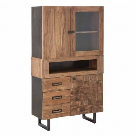 Modern Showcase with Drawers and Doors, Iron, Glass and Acacia Wood - Dianna