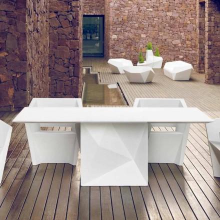 Vondom Faz white lacquered outdoor table, 200x100 cm, modern design